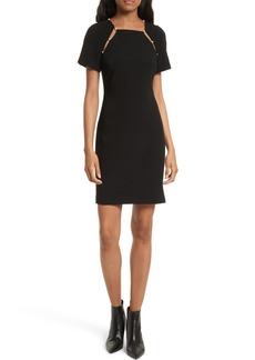 Alice + Olivia Kristiana Embellished Split Seam Sheath Dress