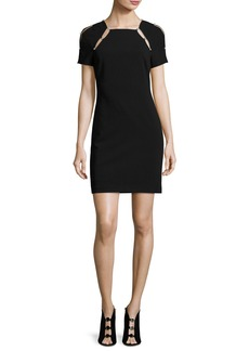 Alice + Olivia Kristiana Fitted Sheath Dress W/ Inserts