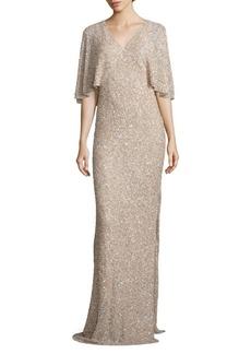 Alice + Olivia Krystina Embellished Cape Gown