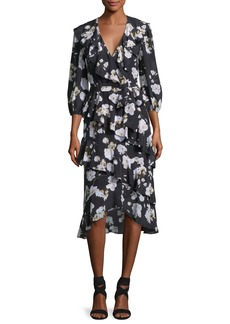 Alice + Olivia Kye V-Neck Floral-Printed Ruffled Midi Dress