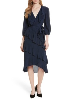 Alice + Olivia Kye V-Neck Tie Waist Ruffle Dress
