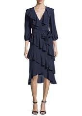 Alice + Olivia Kye V-Neck Tie-Waist Ruffled Midi Dress