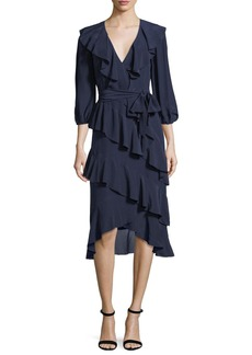 Alice + Olivia Kye V-Neck Tie-Waist Ruffled Midi Dress