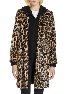 Alice + Olivia Kylie Faux Fur Coat with Removable Hoodie