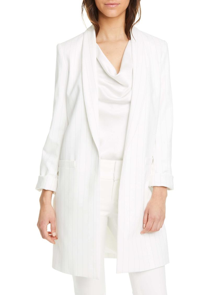 Alice + Olivia Kylie Stripe Shawl Collar Long Jacket