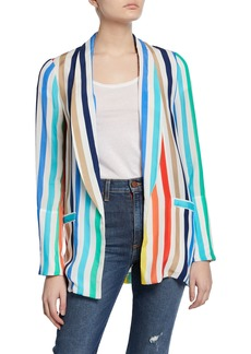 Alice + Olivia Kylie Striped Easy Shawl-Collar Jacket