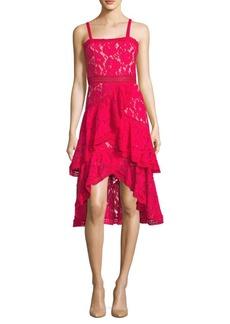 Alice + Olivia Lace Asymmetrical Midi Dress
