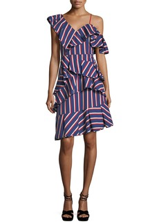 Alice + Olivia Laflora Asymmetric Ruffle Striped Poplin Dress