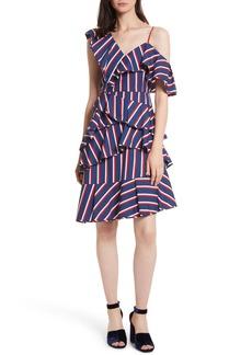 Alice + Olivia Laflora Aymmetrical Ruffle Midi Dress
