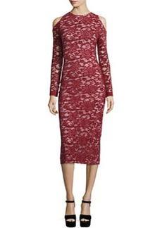Alice + Olivia Laila Cold-Shoulder Floral-Lace Sheath Dress