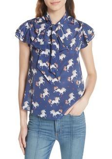 Alice + Olivia Laney Unicorn Flutter Sleeve Silk Blouse