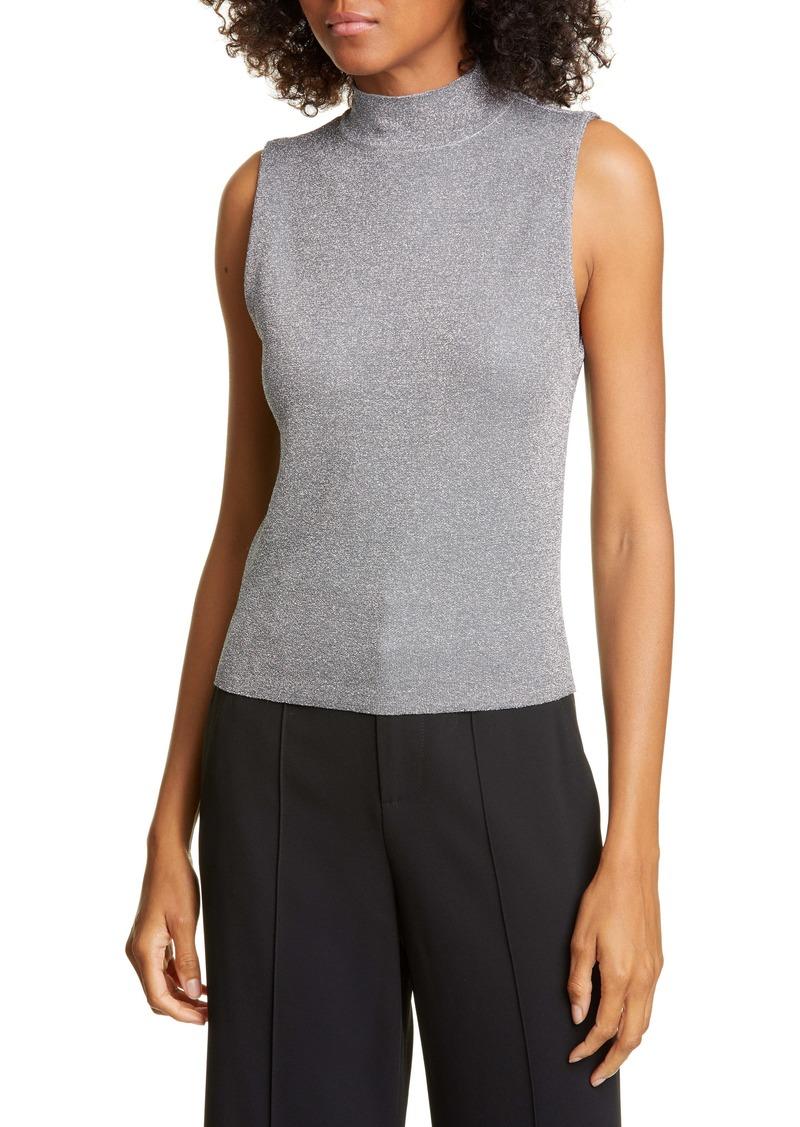 Alice + Olivia Lanie Sleeveless Mock Neck Metallic Wool Blend Sweater
