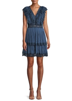 Alice + Olivia Lanora V-Neck Pleated Tiered  Dress