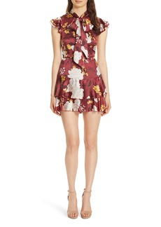 Alice + Olivia Lashay Tie Neck Silk Minidress