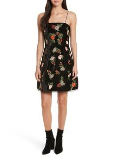 Alice + Olivia Launa Embroidered Velvet Dress