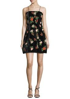 Alice + Olivia Launa Spaghetti-Strap Embroidered Velvet Mini Dress
