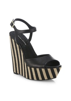 Alice + Olivia Laura Leather & Raffia Platform Wedge Sandals