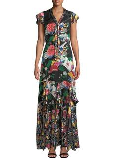 Alice + Olivia Laurette Ruffle Godet Maxi Dress