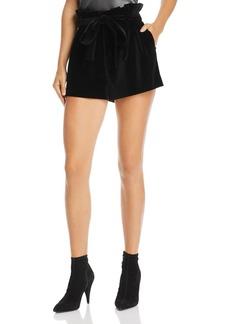Alice + Olivia Laurine Velvet Paperbag-Waist Shorts