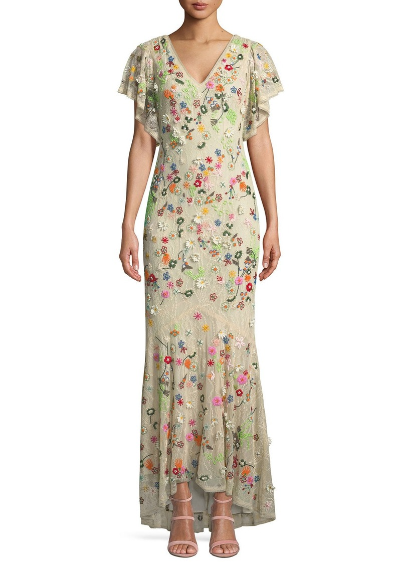 Alice + Olivia Lavada Low-Back Floral-Embroidered Mermaid Gown | Dresses