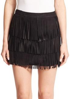Alice + Olivia Lavana Tiered Fringe Suede Mini Skirt