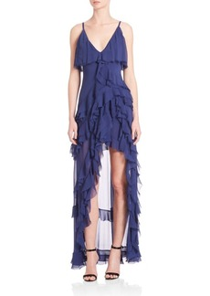 Alice + Olivia Laverne Asymmetrical Ruffle Gown
