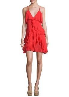 Alice + Olivia Lavinia Sleeveless Raw-Edge Ruffle Mini Dress
