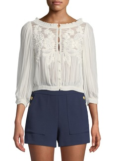 Alice + Olivia Lavone Embroidered Button-Down Top