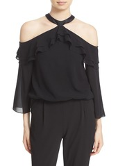 Alice + Olivia 'Layla' Stretch Silk Cold Shoulder Ruffle Top