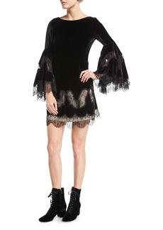 Alice + Olivia Leann Bell-Sleeve Velvet Tunic Dress w/ Lace