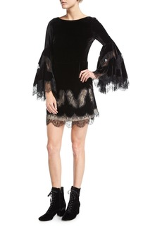 Alice + Olivia Leann Bell-Sleeve Velvet Tunic Dress w/ Lace