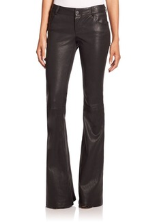 Alice + Olivia Leather Bell-Bottom Pants