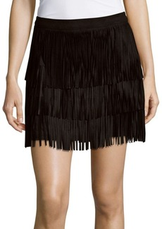 Alice + Olivia Leather Tassel Skirt