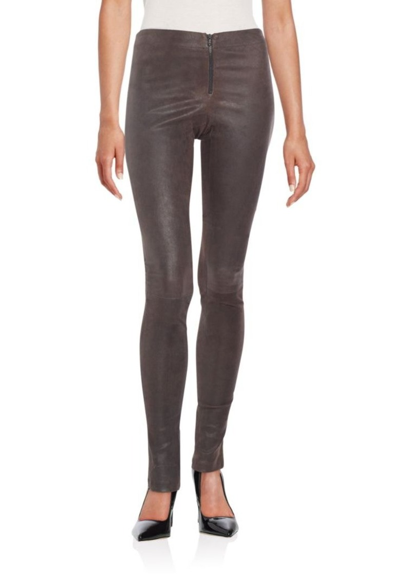 Alice + Olivia Leather Zip-Front Pants