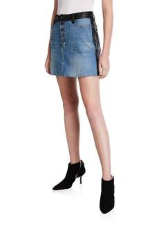 Alice + Olivia Leather/Denim Button Mini Skirt