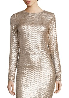 Alice + Olivia Lebell Sequin Cropped Top