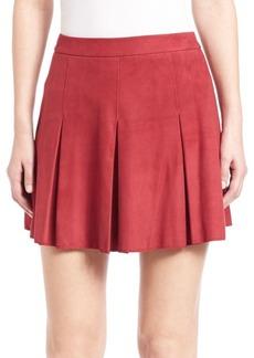 Alice + Olivia Lee Pleated Leather Skirt