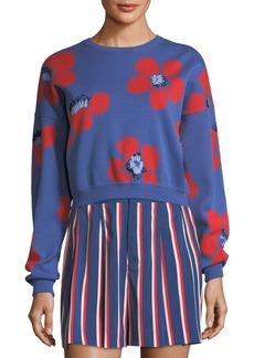 Alice + Olivia Leena Floral-Print Crop Sweatshirt
