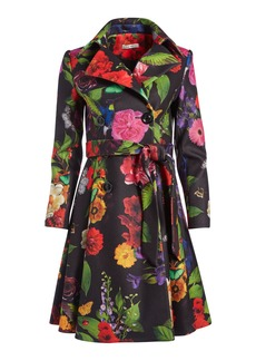 alice + olivia LEILA FIT AND FLARE FLORAL COAT