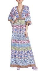 Alice + Olivia Lena Mixed Print Maxi Dress