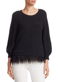 Alice + Olivia Lenita Feather-Hem Sweater