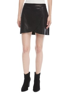 Alice + Olivia Lennon Leather Overlap Mini Skirt w/ Zip-Detail