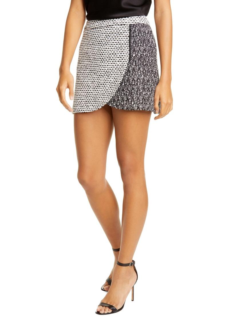 Alice + Olivia Lennon Side Zip Bouclé Miniskirt