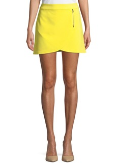 Alice + Olivia Lennon Side-Zip Overlap Mini Skirt