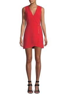Alice + Olivia Lennon Surplice Sleeveless Side-Zip Mini Cocktail Dress