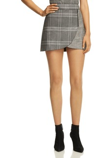 Alice + Olivia Lennon Zip Detail Plaid Mini Skirt