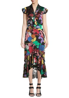Alice + Olivia Lessie Floral Tie-Neck Flounce Dress