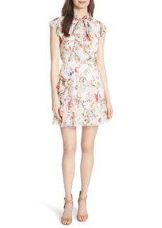 Alice + Olivia Lessie Ruffled Floral Silk Dress