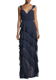 Alice + Olivia Lessie Surplice Sleeveless Ruffled Gown