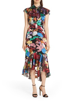 Alice + Olivia Lessie Tie Neck Ruffle Dress